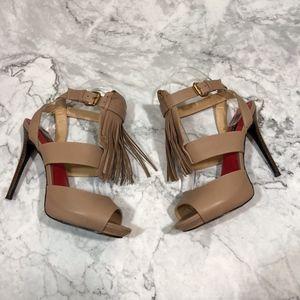 Charles Jourdan Paris Nude Fringe Stiletto Heels